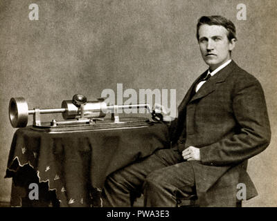 Thomas Edison, 1878 photograph of the American businessman and inventor with his new phonograph taken by Mathew Brady - Stock Image