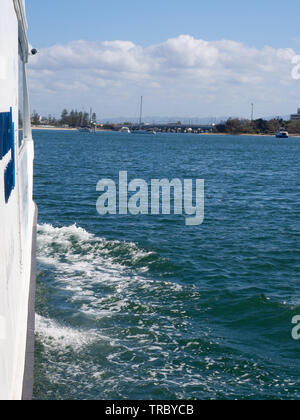 Cruising On A River Boat On The Gold Coast - Stock Image
