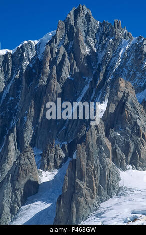 The huge south face of Mont Blanc du Tacul in the French Alps, Chamonix - Stock Image