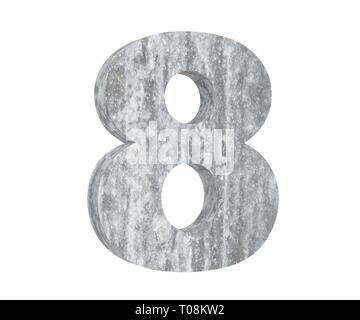 3D rendering concrete number 8 eight. 3D render Illustration. - Stock Image