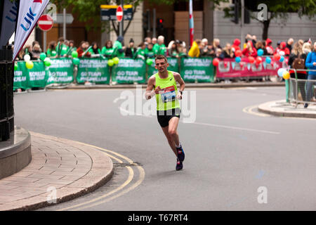Dewi Griffiths (GBR), competing in the 2019 London Marathon. Dewi finished the men's Elite Race in 16th position, in a time of 02:11:46 - Stock Image