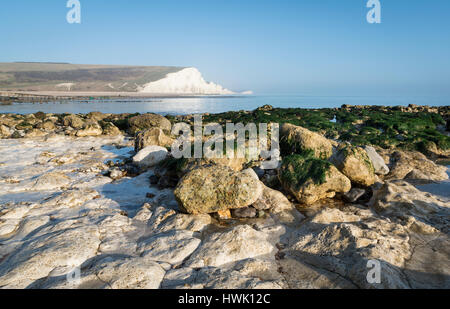 View of Seven Sisters Country Park cliffs taken from Seaford Head beach, East Sussex, UK - Stock Image