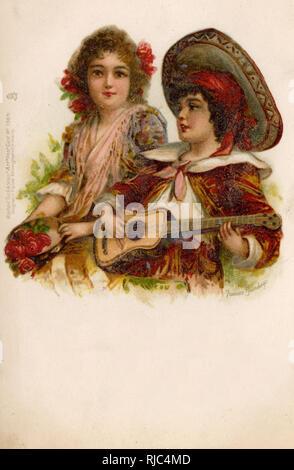Spanish Children sing and play music - kitsch postcard - Stock Image