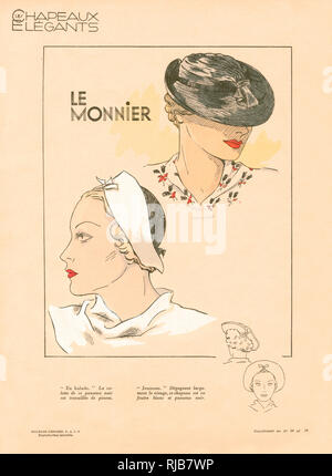 Les Chapeaux Elegants.  Two elegant hat designs by French milliners, Le Monnier for the mid-1930s. - Stock Image