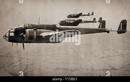 A flight of Handley Page HP.52 Hampdens, a British twin-engine medium bomber of the Royal Air Force.  It served in the early stages of the Second World War, taking part in the first night raid on Berlin and the first 1,000-bomber raid on Cologne. It was retired from RAF Bomber Command service in late 1942, superseded by larger four-engined heavy bombers like the Avro Lancaster. - Stock Image
