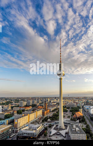 View from Parorama Bar to Alex TV Tower, Berlin - Stock Image