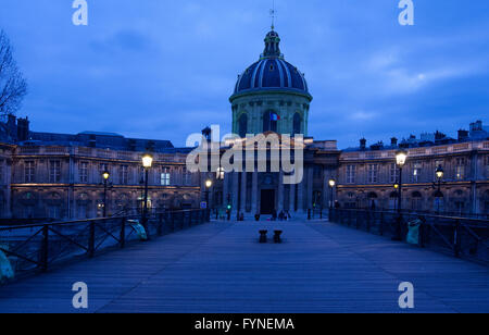 The Pont des Arts at twilight Paris France - Stock Image
