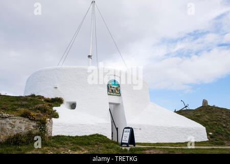 Visitor Centre in former coastguard lookout built on inner rampart of Pictish fort. Burghead, Moray, Scotland, UK, Britain - Stock Image