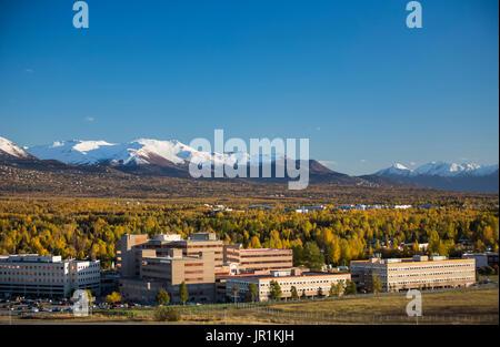 Aerial View Of Alaska Regional Hospital, Anchorage, Southcentral Alaska, USA - Stock Image