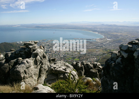 A View of Cape Town and Table Bay from Table Mountain, Cape Town, Western Cape, South Africa. - Stock Image