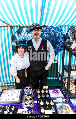 Lincoln, UK. 26 August 2018. The Asylum Steampunk Festival is the largest and longest running steampunk festival in the Solar System, at Lincoln city UK England, 26/08/2018, attracting participants from around the globe. It takes place over the August Bank Holiday weekend in the historic City of Lincoln. Credit: Iconic Cornwall/Alamy Live News - Stock Image