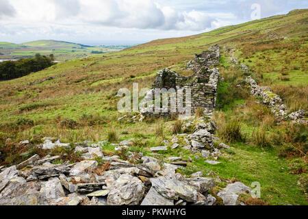 Ruined quarrymen's cottages of Gorseddau slate quarry village in Cwmystradllyn valley in Snowdonia National Park. Porthmadog Gwynedd Wales UK Britain - Stock Image