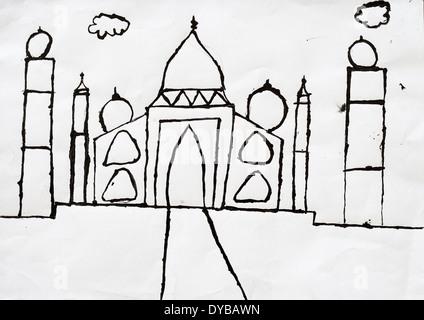 Childrens' artwork: Taj Mahal - Stock Image