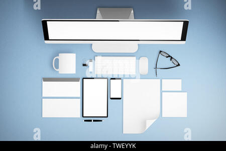 top view of devices and branding elements on blue desktop mockup 3d rendering - Stock Image