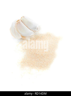 Organic fresh garlic and ground garlic isolated on white background. - Stock Image