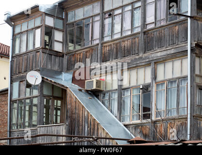 Georgian traditional houses, with typical wooden and wrought iron balconies - Stock Image
