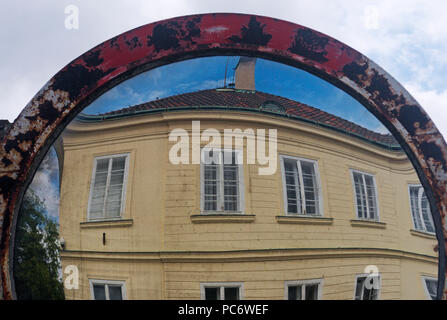 street mirror on the road to Hradcany Prague Czech Republic - Stock Image