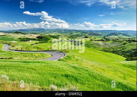 The landscape of Tuscany near the town of Volterra. - Stock Image