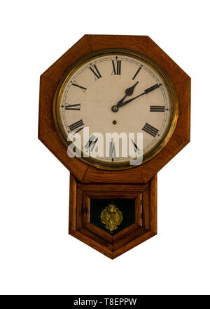 Eight corners wooden vintage clock isolated on white background - octagon shape - Stock Image