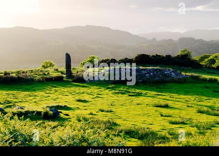 Kintraw prehistoric megalith standing stone at the head of Loch Craignish near Kilmartin, south of Oban, Argyll, - Stock Image