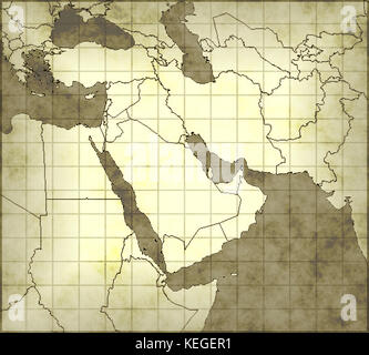 Old map middle east - Stock Image