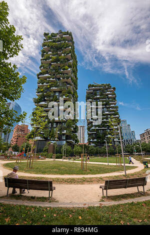 Vertical view of Bosco Verticale in Milan, Italy. - Stock Image