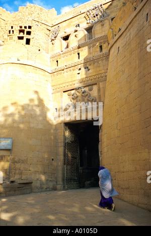 Entrance to Jaiselmer Walled City, Rajasthan, India - Stock Image