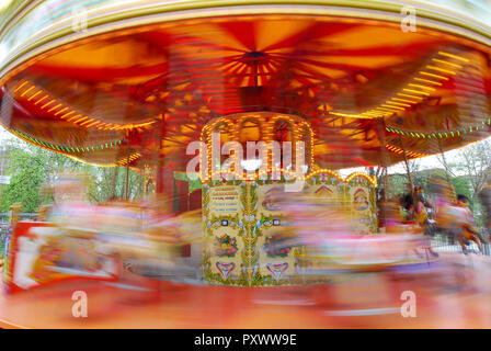 Animated merry-go-round and carousel in London - Stock Image