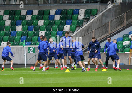 Windsor Park, Belfast, Northern Ireland.20 March 2019. Northern Ireland training in Belfast this morning ahead of their UEFA EURO 2020 Qualifier against Estonia tomorrow night in the stadium. Tom Flanagan (centre) training. Credit: David Hunter/Alamy Live News. - Stock Image