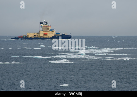 Swedish ice breaker Oden among sea ice west of Spitsbergen, Svalbard. - Stock Image
