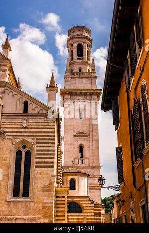 Duomo tower framed against the buildings in Verona, Italy - Stock Image