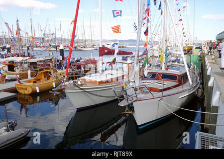 Hobart, Tasmania, Australia, 8 Feb 2019. Hundreds of wooden vessels gathered at Constitution Dock getting ready for the festivities. The 2019 Australian Wooden Boat Festival celebrates historical and current shipbuilding and is one of the world's most anticipated maritime events. Credit: Suzanne Long/Alamy Live News - Stock Image