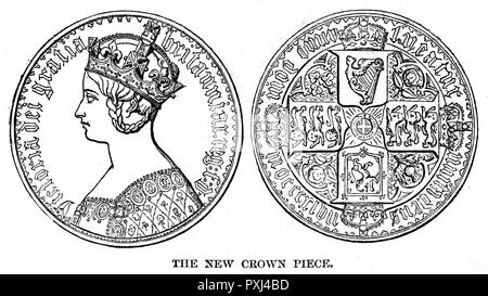 The new Victoria Crown.        Date: 1847 - Stock Image