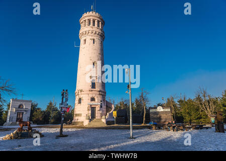 Observation tower on a top of Wielka Sowa (Great Owl) mount in Landscape Park of Gory Sowie (Owl Mountains range) in Central Sudetes, Poland - Stock Image