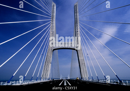 The Vasco da Gama Bridge in Lisbon, shortly after its completion in 1998. - Stock Image