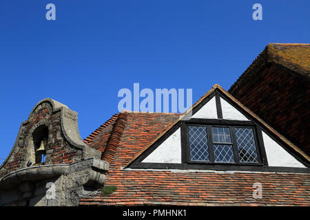 Roof of The Old Bell pub from The Mint, Rye, East Sussex, United Kingdom - Stock Image