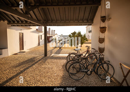 Bicycles at the Torre de Palma Wine Hotel in the Alentejo, Portugal - Stock Image