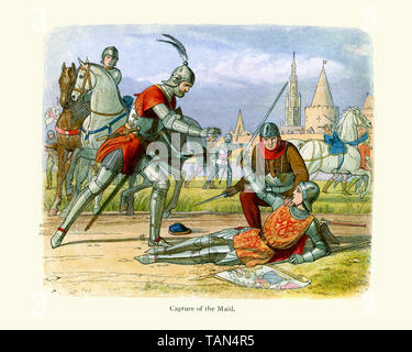The capture of Joan of Arc in 1430. Saint Joan of Arc, nicknamed The Maid of Orleans is considered a national heroine of France and a Catholic saint.  - Stock Image