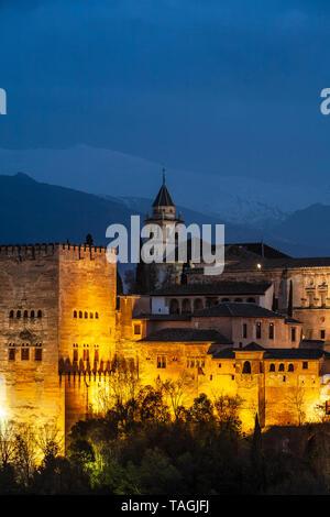 The Alhambra at twilight, Granada, Spain - Stock Image