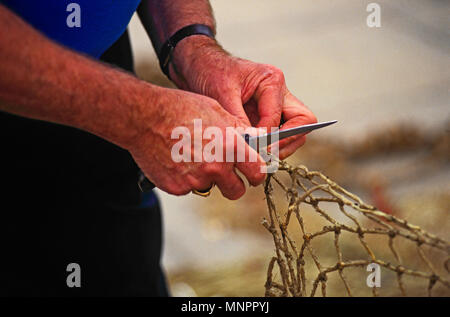 HANDS OF A FISHERMAN REPAIRING FISHING NETS. HONFLEUR, NORMANDY, FRANCE, JUNE 2014. The hands of a local fisherman repairing his fishing nets on the Q - Stock Image