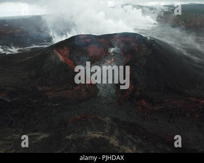 View using an Unmanned Aerial Vehicle into the fissure 8 lava cone in the Kilauea volcano showing a low level of activity September 6, 2018 in Hawaii. After three-months of continuous eruption the volcano has halted activity and appears to be over for the time being. - Stock Image
