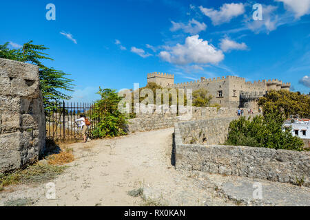 A view of the Palace of the Grand Master of the Knights of Rhodes on the Mediterranean island of Rhodes Greece taken from the ancient city wall - Stock Image