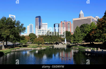 Charlotte, North Carolina. Skyline viewed from Marshall park. - Stock Image