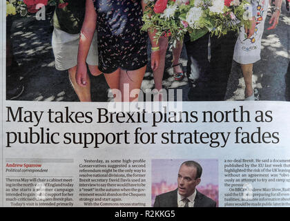 'May takes Brexit plans north as public support for strategy fades' Guardian newspaper headline article 27 July 2018 - Stock Image