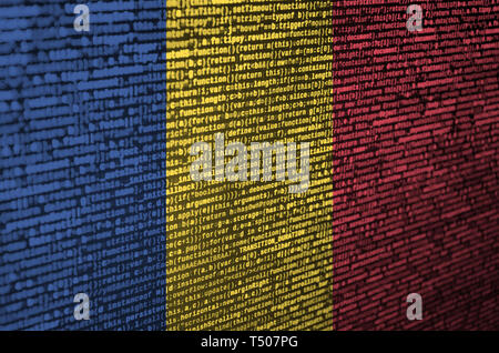 Romania flag  is depicted on the screen with the program code. The concept of modern technology and site development. - Stock Image