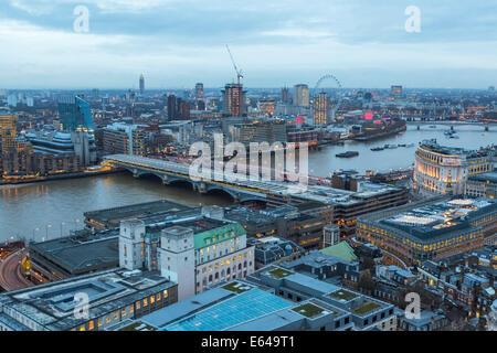 View over River Thames towards Millenium Wheel, London, UK - Stock Image