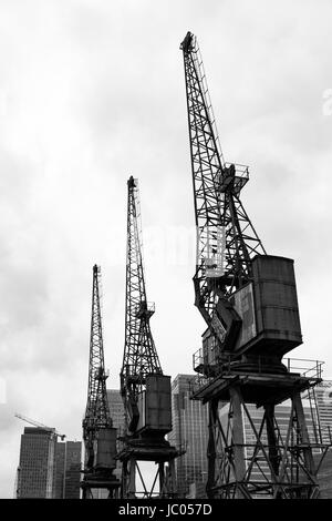 Quay Cranes, Poplar, London, England, United Kingdom - Stock Image