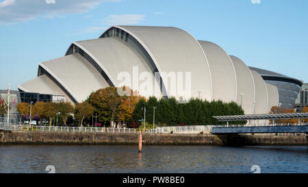The Clyde Auditorium building on Glasgow dockside (known locally as the 'Armadillo'. - Stock Image
