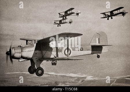 A flight of Fairey Albacores, a British single-engine carrier-borne biplane torpedo bomber built by Fairey Aviation between 1939 and 1943 for the Royal Navy Fleet Air Arm and used during the Second World War. It had a three-man crew and was designed for spotting and reconnaissance as well as level bombing, dive bombing and as a torpedo bomber. It was conceived as a replacement for the ageing Fairey Swordfish, which had entered service in 1936, but was retired before it, to be replaced by the Fairey Barracuda and Grumman Avenger monoplane torpedo bombers. - Stock Image