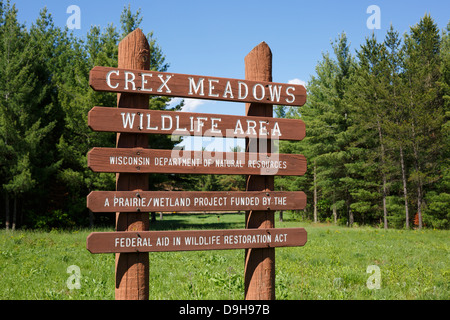 Sign at the headquarters of the Crex Meadows Wildlife Area in western Wisconsin, USA. - Stock Image